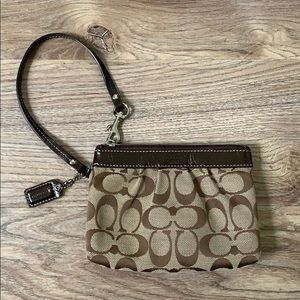 Brown Coach Logo Wristlet